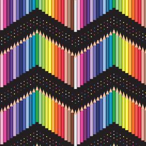 Colored Pencils Polka Chevron with dots black