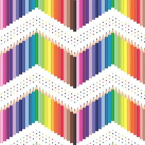Colored Pencils Polka Chevron with dots white
