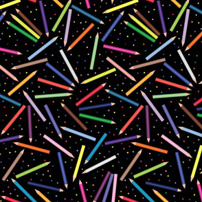 Colored Pencils and Polka Dots scattered Black