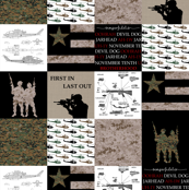 "3"" Marines Faux Quilt"