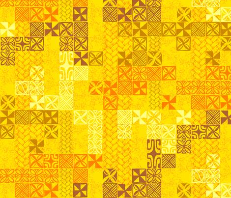 Tapa Tuesday Yellow fabric by madtropic on Spoonflower - custom fabric