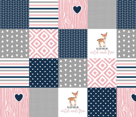4.5 inch Wild & Free - Wholecloth Cheater Quilt fabric by longdogcustomdesigns on Spoonflower - custom fabric