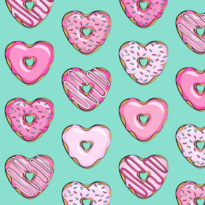 (large scale) heart shaped donuts - valentines pink  on teal