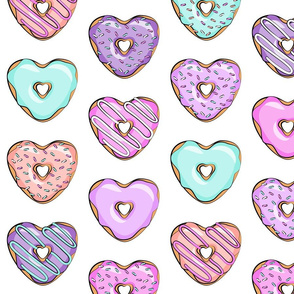 (large scale) heart shaped donuts - valentines multi on white