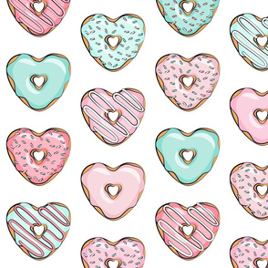 (large scale) heart shaped donuts - valentines pink & mint
