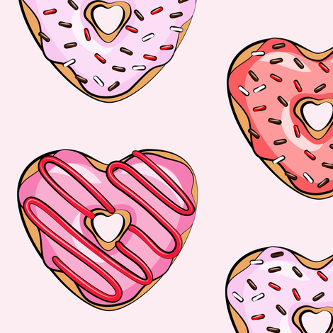 (large scale) heart shaped donuts - valentines red and pink on light pink fabric by littlearrowdesign on Spoonflower - custom fabric