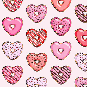 (large scale) heart shaped donuts - valentines red and pink on light pink