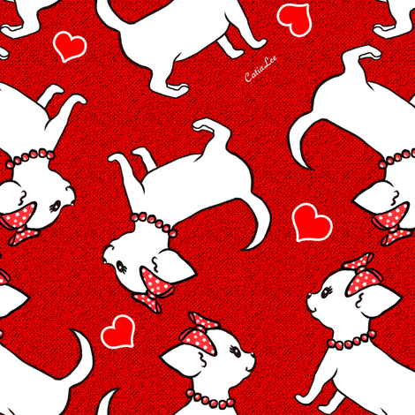 W Chihuahua red Love M fabric by catialee on Spoonflower - custom fabric
