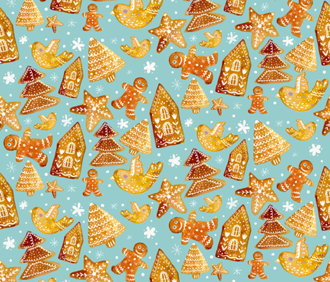gingerbread cookies on blue fabric by greenrainart on Spoonflower - custom fabric
