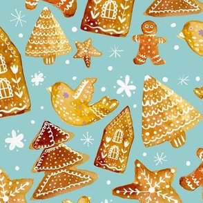 gingerbread cookies on blue