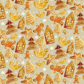 gingerbread cookies on light background