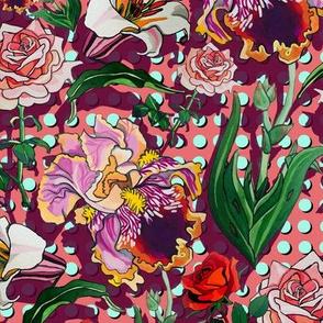 dark peach roses and lilies