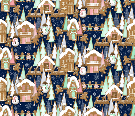 A Gingerbread Christmas fabric by j9design on Spoonflower - custom fabric