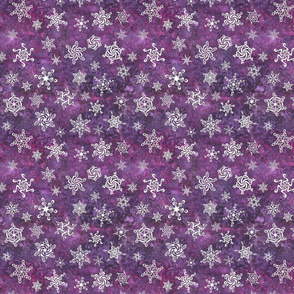 snowflakes - swirl designs on mulberry purple
