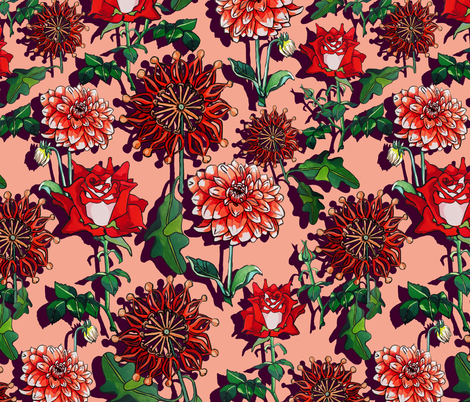 Red flame wheels fabric by ariellelouise on Spoonflower - custom fabric