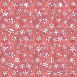 snowflakes - heart designs on melon pink