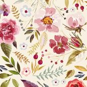 Vintage Floral Cream Wildflower