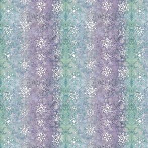 snowflake stripes - swirl designs on aqua, blue, purple