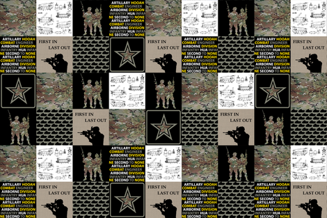 """6"""" Army Faux Quilt fabric by lacklandacres on Spoonflower - custom fabric"""