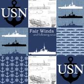 Navy Faux Quilt