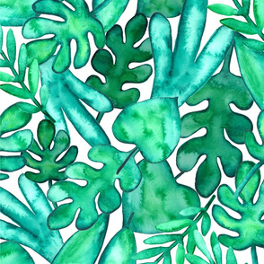 BIG Watercolor tropical leaves fabric