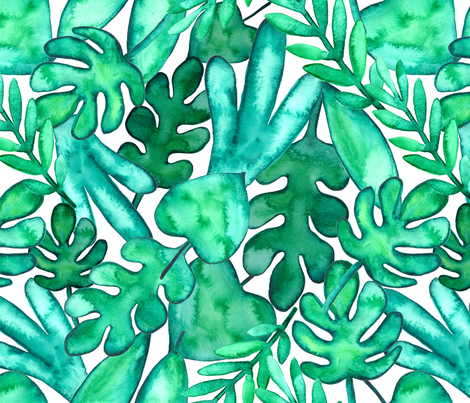 MEDIUM Watercolor tropical leaves fabric fabric by kostolom3000 on Spoonflower - custom fabric