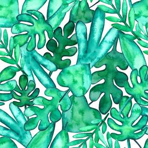 MEDIUM Watercolor tropical leaves fabric