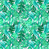 MEDIUM Watercolor tropical leaves fabric
