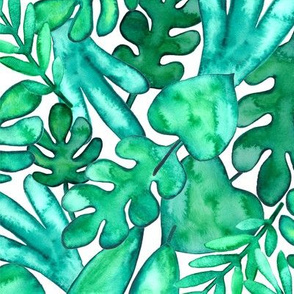 SMALL Watercolor tropical leaves fabric