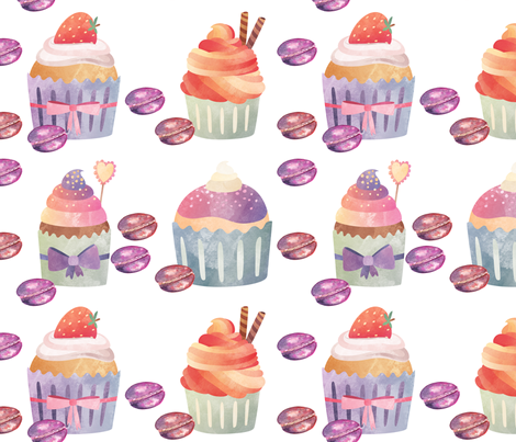 CUPCAKES MACARONS ON WHITE fabric by floweryhat on Spoonflower - custom fabric