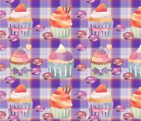 Rcupcakes-macarons-purple-coral-plaid-by-floweryhat_shop_preview