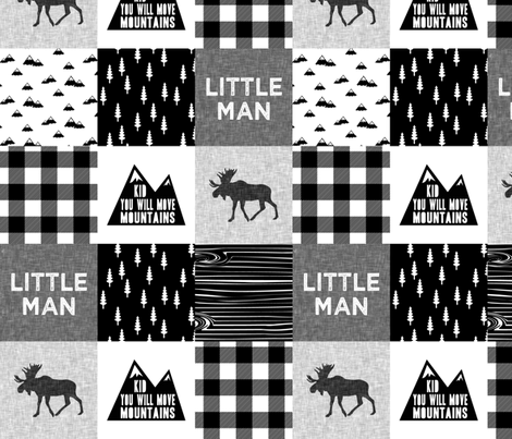 "(4"" small scale)  Little Man & You Will Move Mountains  fabric by littlearrowdesign on Spoonflower - custom fabric"