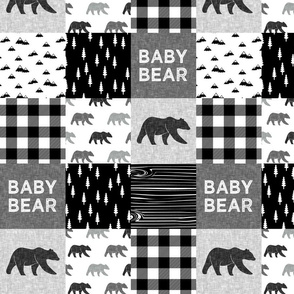 """(4"""" small scale) baby bear patchwork quilt top 
