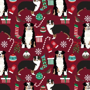 Australian Shepherd fabric christmas tri colored coat dog breeds ruby