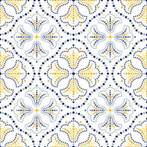 Gaudi ceramics inspired dotted mosaic pattern of tulips