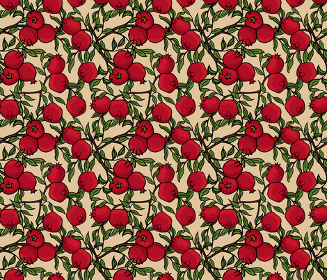 Pomegranate Branches on Taupe fabric by northern_whimsy on Spoonflower - custom fabric