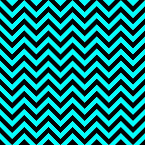 Three Inch Aqua Blue and Black Chevron Stripes