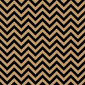 Three Inch Camel Brown and Black Chevron Stripes