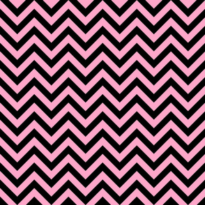 Three Inch Carnation Pink and Black Chevron Stripes