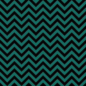 Three Inch Cyan Turquoise Blue and Black Chevron Stripes