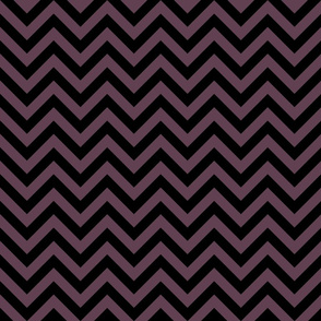 Three Inch Eggplant Purple and Black Chevron Stripes