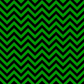 Three Inch Christmas Green and Black Chevron Stripes
