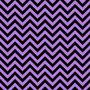 Three Inch Lavender Purple and Black Chevron Stripes