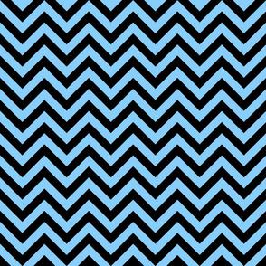 Three Inch Light Sky Blue and Black Chevron Stripes
