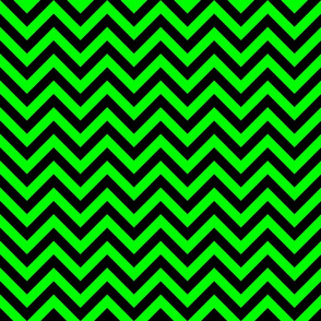 Three Inch Lime Green and Black Chevron Stripes