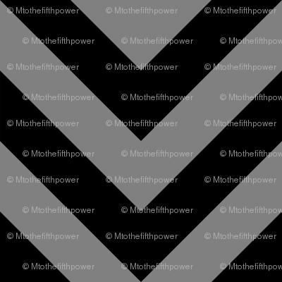 Three Inch Medium Gray and Black Chevron Stripes