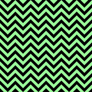 Three Inch Mint Green and Black Chevron Stripes