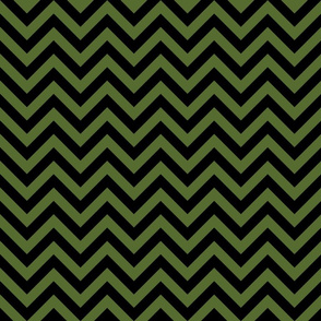 Three Inch Olive Green and Black Chevron Stripes