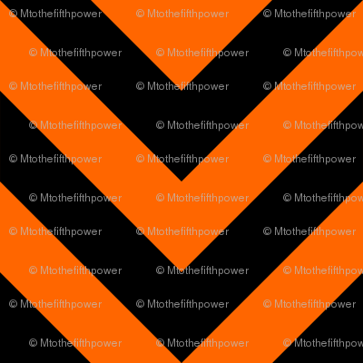 Three Inch Orange and Black Chevron Stripes