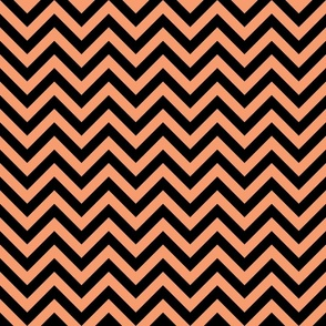 Three Inch Peach and Black Chevron Stripes